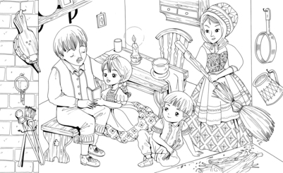 hansel-gretel-family-coloring-jpg