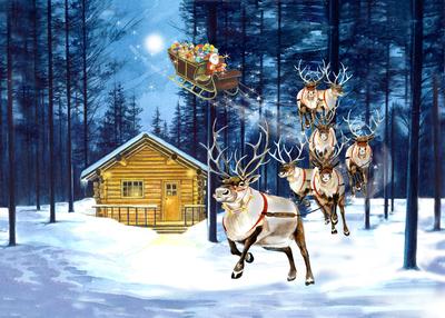 santa-and-cabin-fiona-osbaldstone-jpg