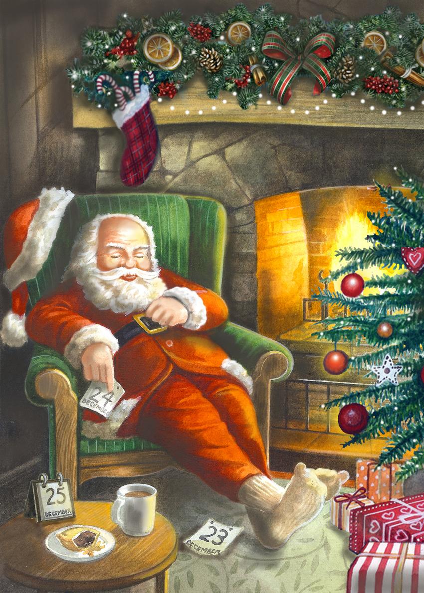 Santa in front of fireplace Fiona Osbaldstone.jpg