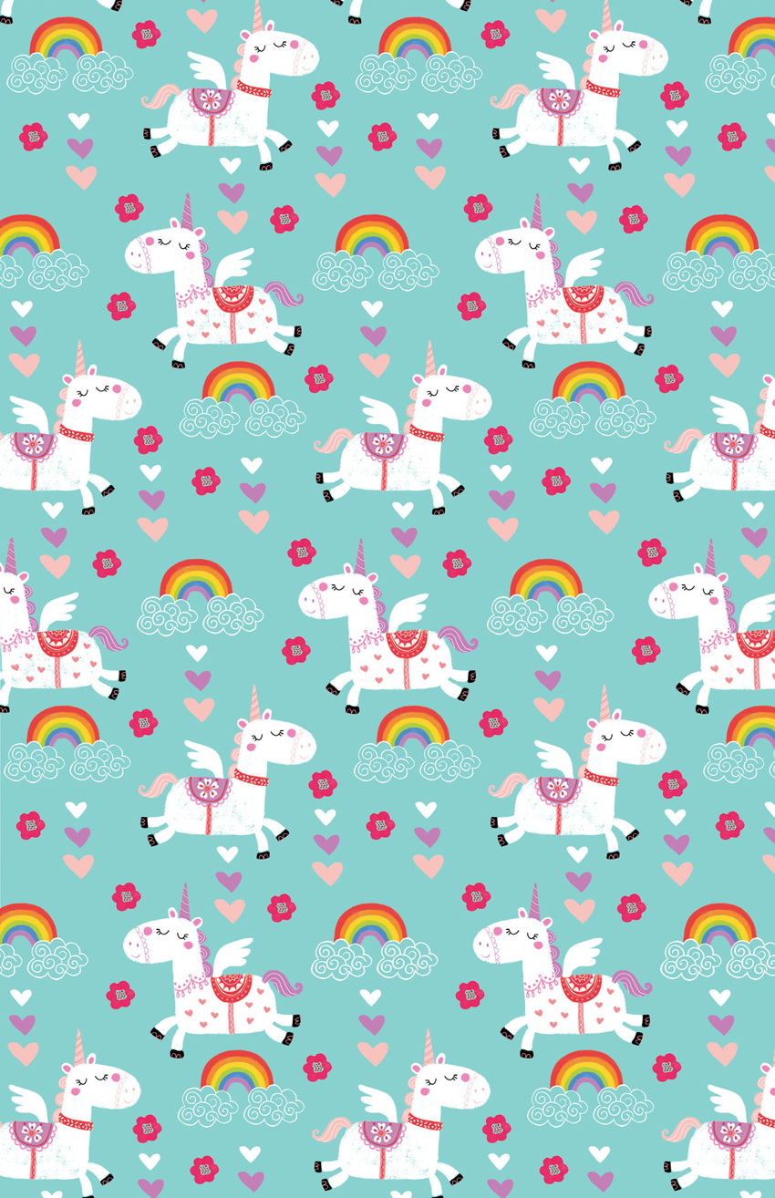 LAS_018 magical unicorns AQUA_kids birthday giftwrap_repeat.jpg
