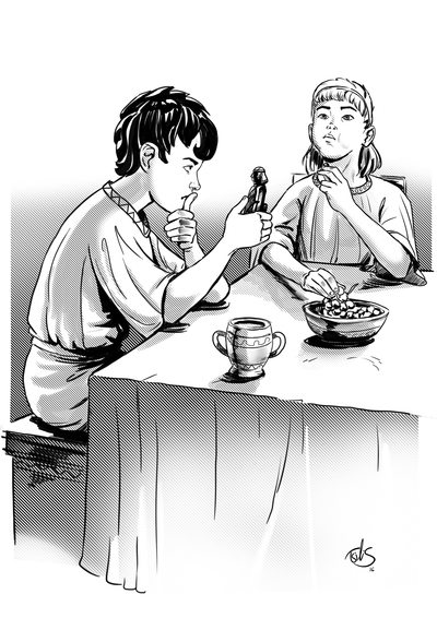 secret-of-zeus-novel-boys-at-table-wondering-jpg