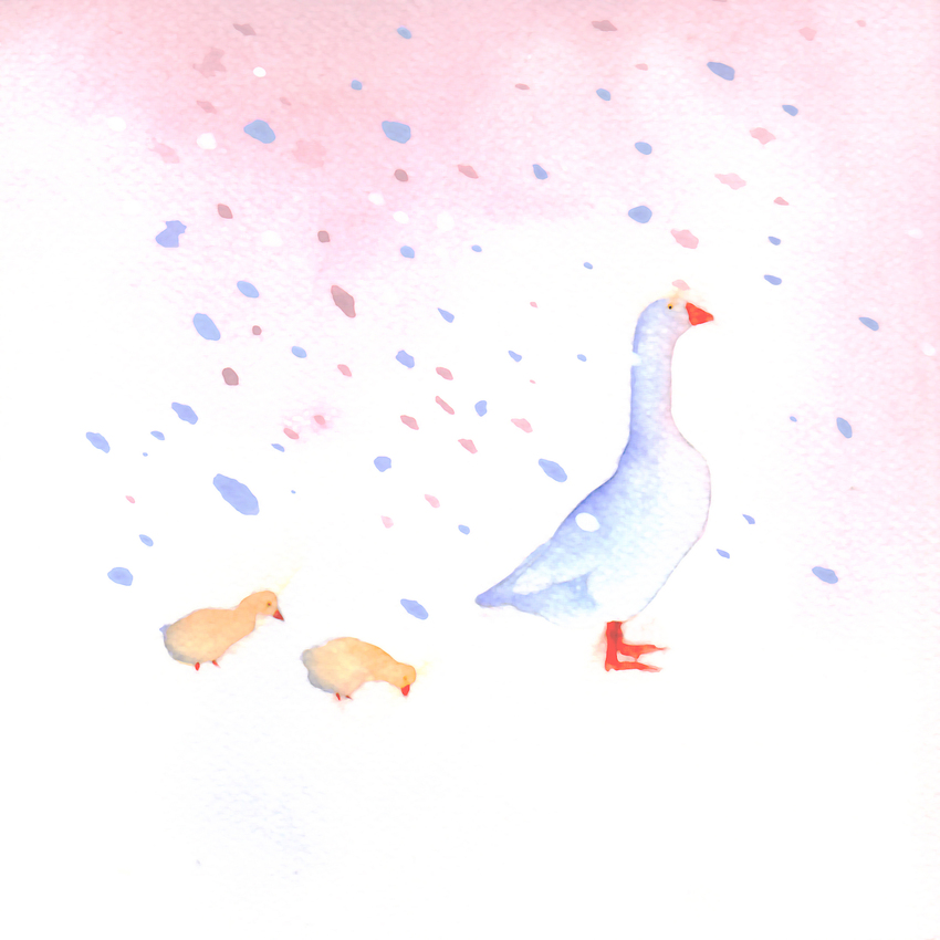 goose with chicks snow christmas mother of pearl.jpg