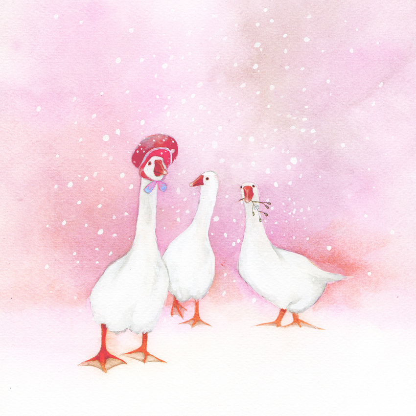 three geese snow christmas mother of pearl.jpg