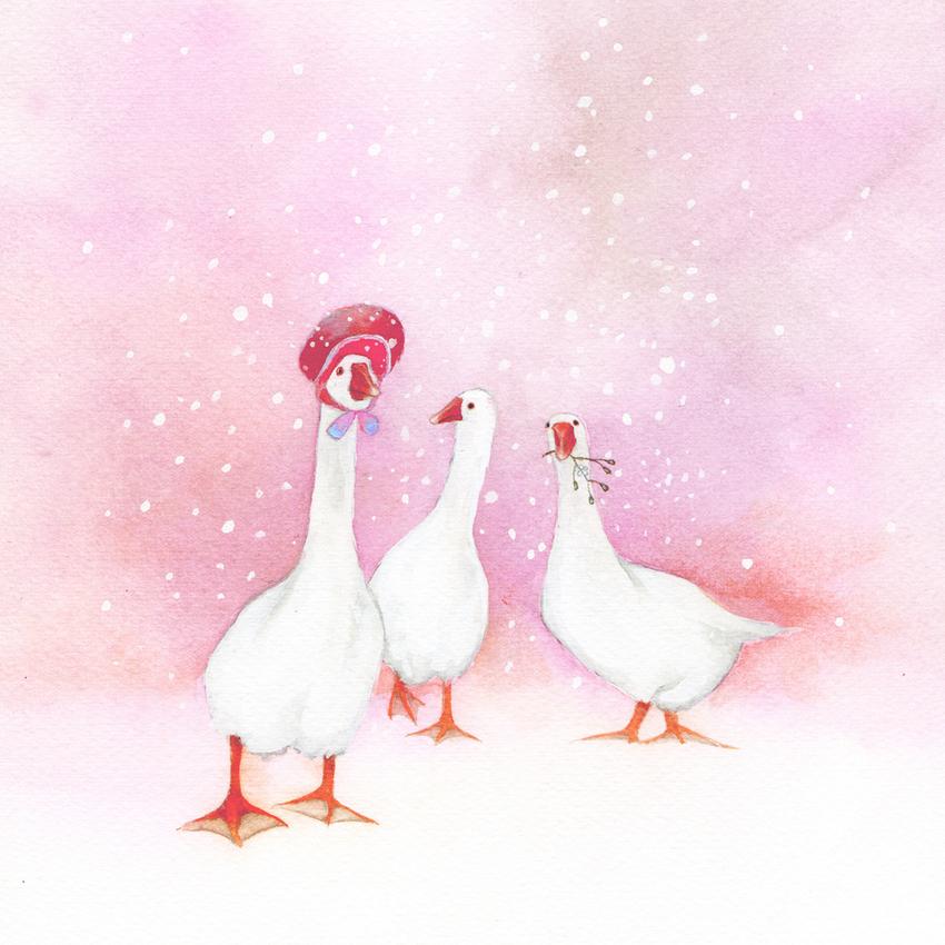 three geese snow christmas mother of pearl.jpg