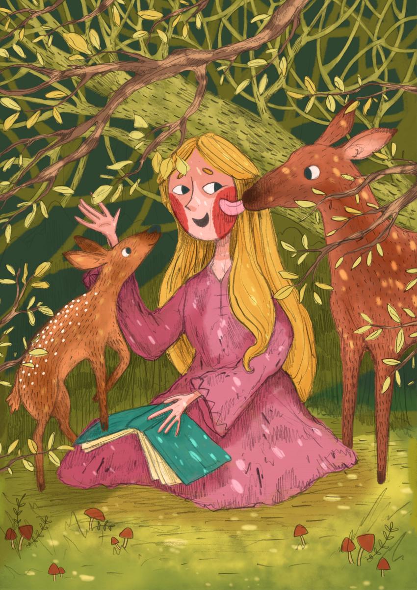 princess_girl_book_forest_deer_trees_ErinBrown_lowres.jpg