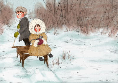 winter-snow-sled-boy-girl-cat-eskimo-cosy-erinbrown-lowres-jpg
