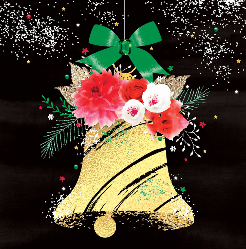 Christmas bell gold glitter foil bell with flowers and snow.jpg