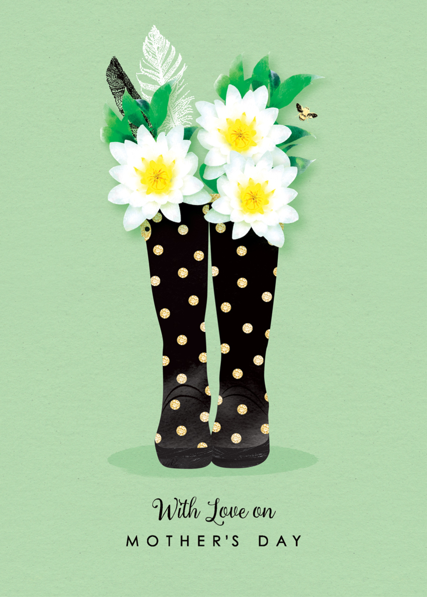 mothers day female birthday daughter sister mum mom auntie niece friend wellies and waterlillies.jpg