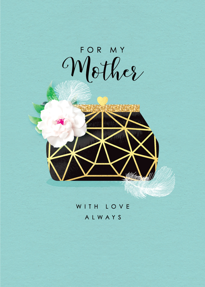 mothers day female birthday daughter sister mum mom grandma auntie niece friend art deco bag with flower and feathers.jpg