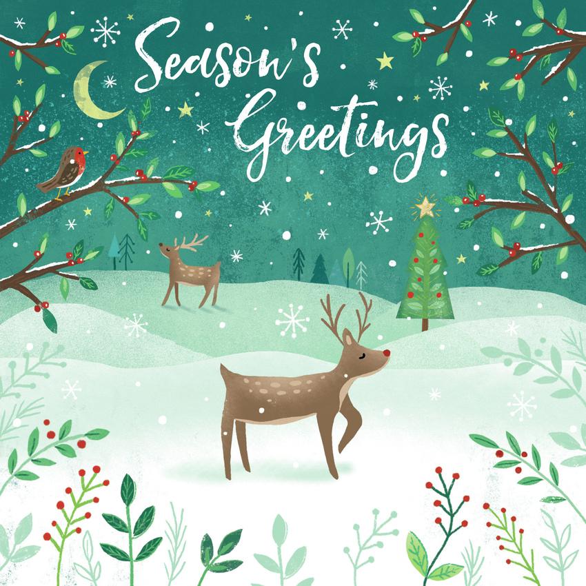 Claire McElfatrick Reindeer Christmas winter scene.jpg