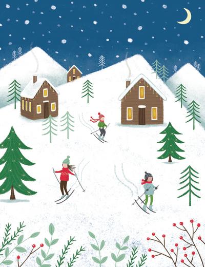 christmas-skiers-snow-trees-jpg