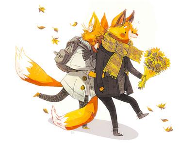 fox-anthro-cute-couple-sunflowers-jpg