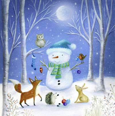 christmas-snowman-woodland-fox-robin-rabbit-owl-hedgehog-jpg