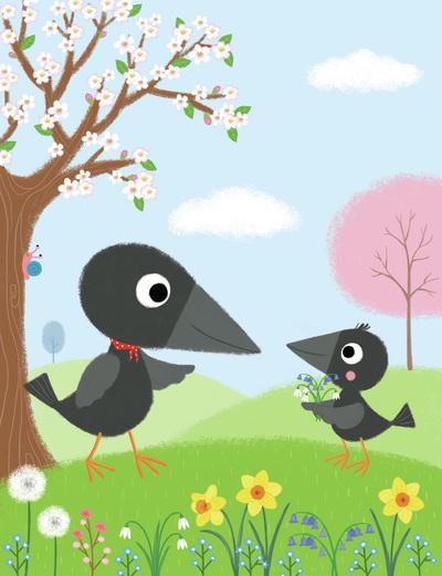 crows-spring-flowers-jpg