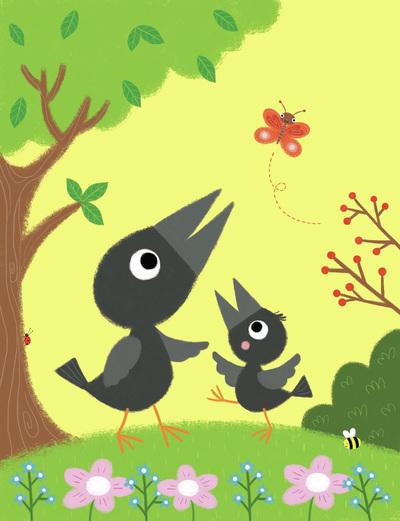 crows-summer-flowers-butterfly-jpg