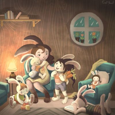 children-burrows-bunny-rabbit-family-animals-house-mother-jpg