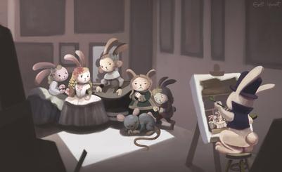 meninas-artwork-bunny-rabbit-family-painter-paint-painting-classic-indoors-scene-court-princess-jpg