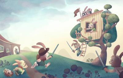 rabbits-treehouse-tree-house-bunny-animals-playing-swords-children-puppies-garden-playground-jpg
