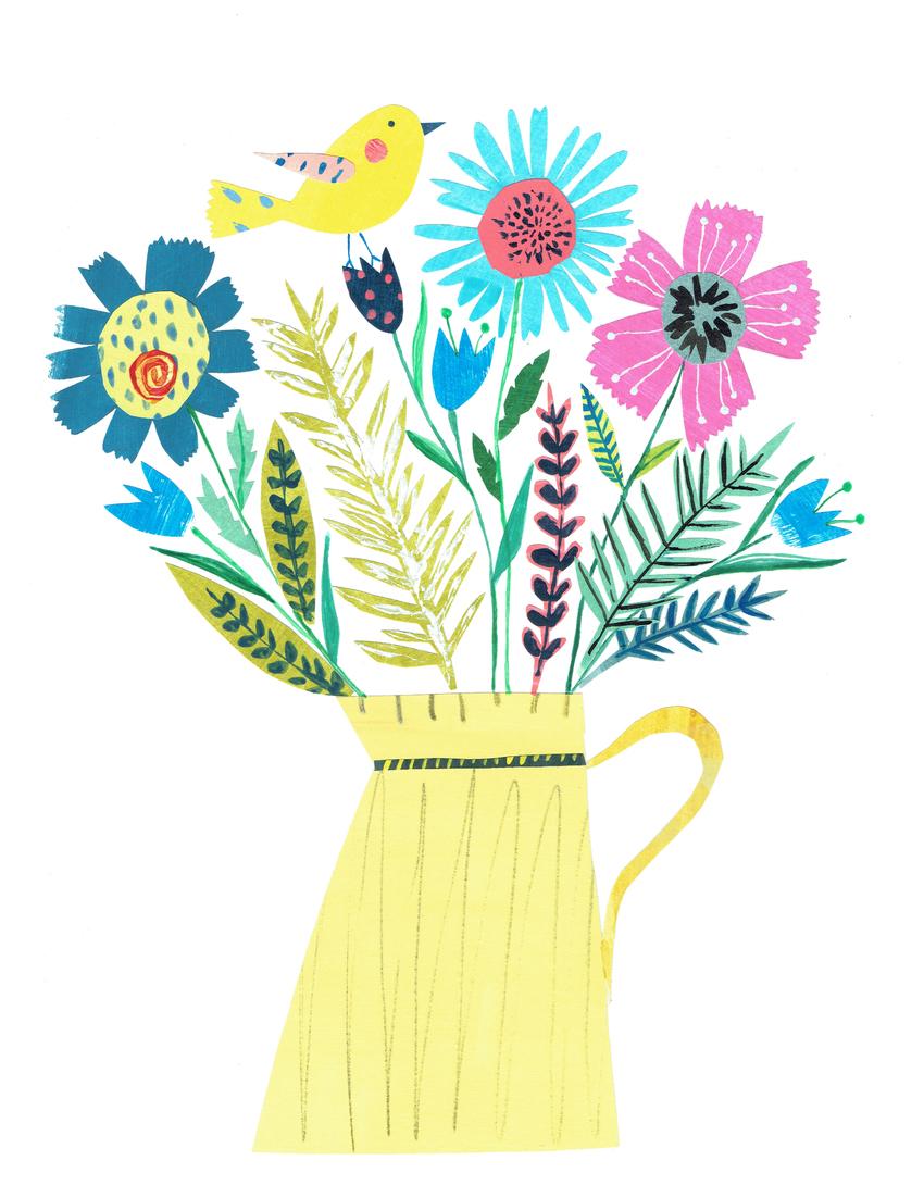 L&K Pope - NEW Floral Yellow Jug & Bird - 3 of 4.jpg