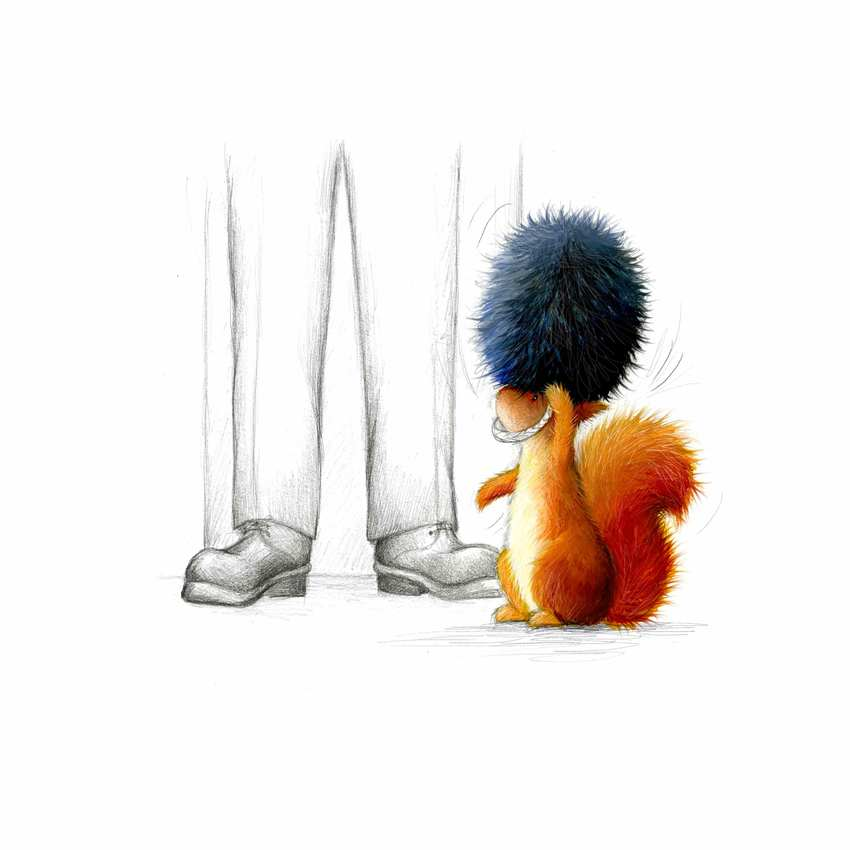 Squirrell-trying-on-hat_queens-guard_pencil_lr.jpg