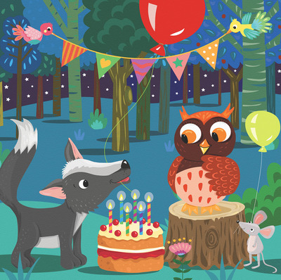 owl-mouse-and-wolf-in-forest-with-birthday-cake-jpg