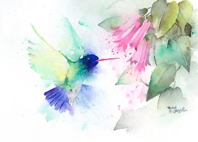 rachelmcnaughton-humming-bird-and-pink-trumpets-jpg