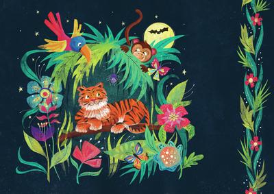 jungle-animals-night-scene-flowers-tropical-monkey-tiger-parrot-butterfly-children-s-books-jpg