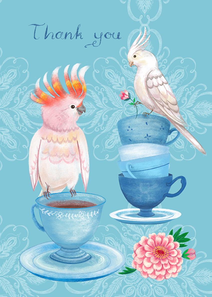 Cockatoo Bird Teacup Thank You Card.jpg