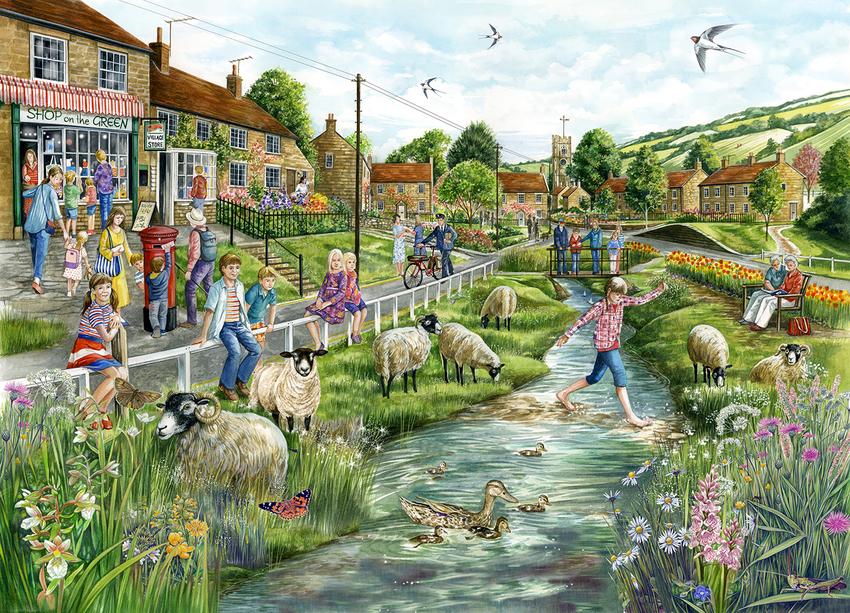 Village with Girl Paddling jigsaw.jpg