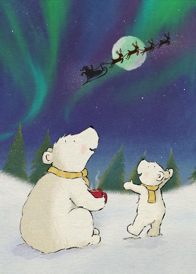 claire-keay-polar-bears-northern-lights-santa-reindeer-jpg-1