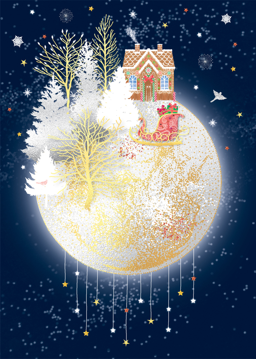 christmas moon santa sleigh gingerbread house forest starry night stars snow sparkle glitter gold foil.jpg