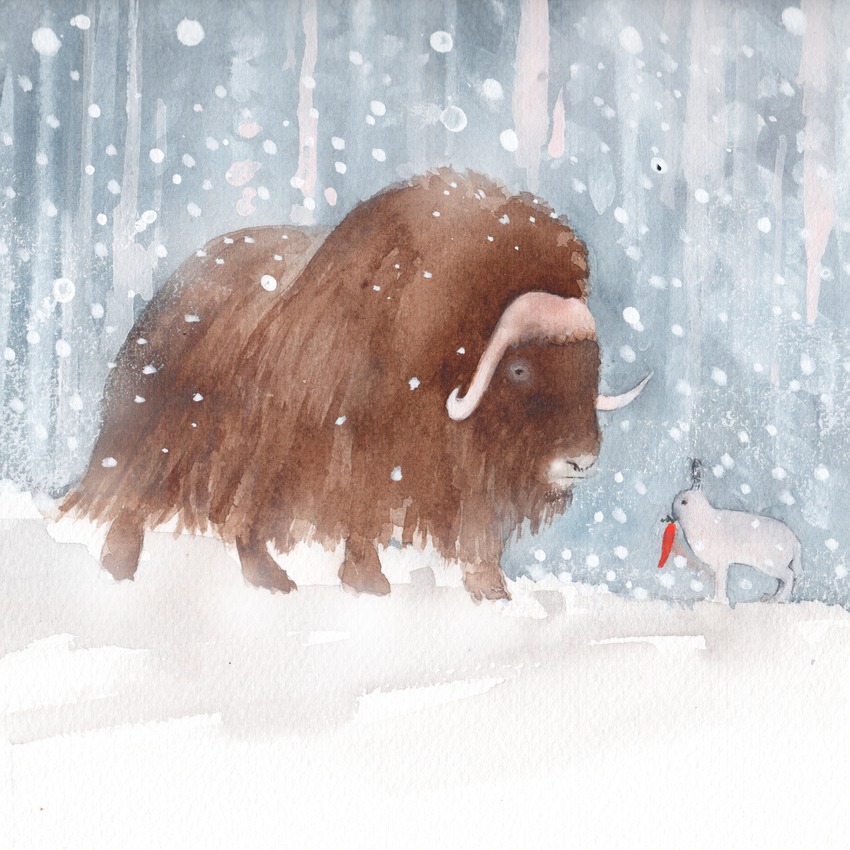 musk ox and arctic hare snow christmas american animalsl.jpg