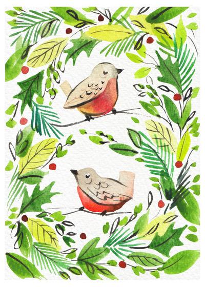 christmas-robins-watercolour-loose-foliage-green-red-jpg