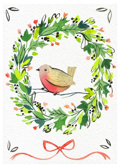 christmas-wreath-robin-bow-watercolour-loose-foliage-green-red-jpg