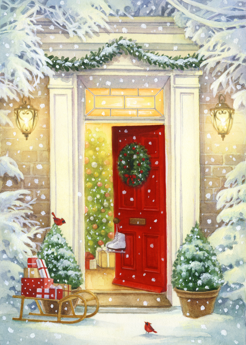 LA - snowy christmas red door.jpg
