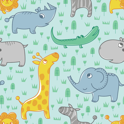 pattern-baby-animals-zebra-rhinoceros-elephant-crocodile-lion-hippo-in-the-minimalist-green-landscape-jpg