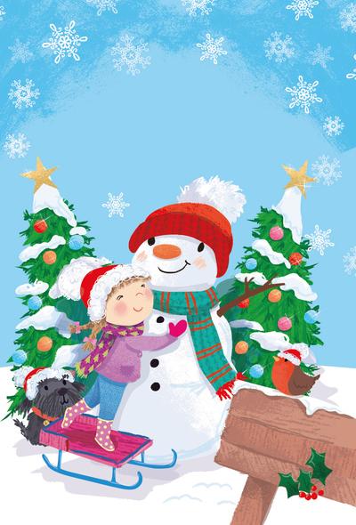 snowman-girl-dog-jpg