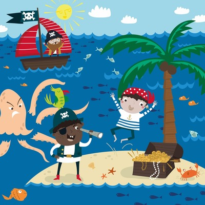izabella-markiewicz-2019-illustration-pirates-gold-boat-fishes-sea-creatures-island-palms-crab-jpg