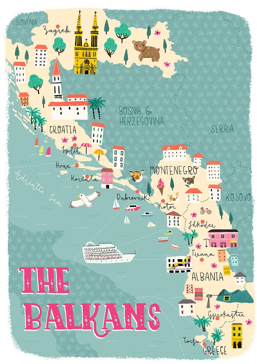 Map The Balkans (Croatia, Montenegro, Albania, Greece) - Gina Maldonado.jpg