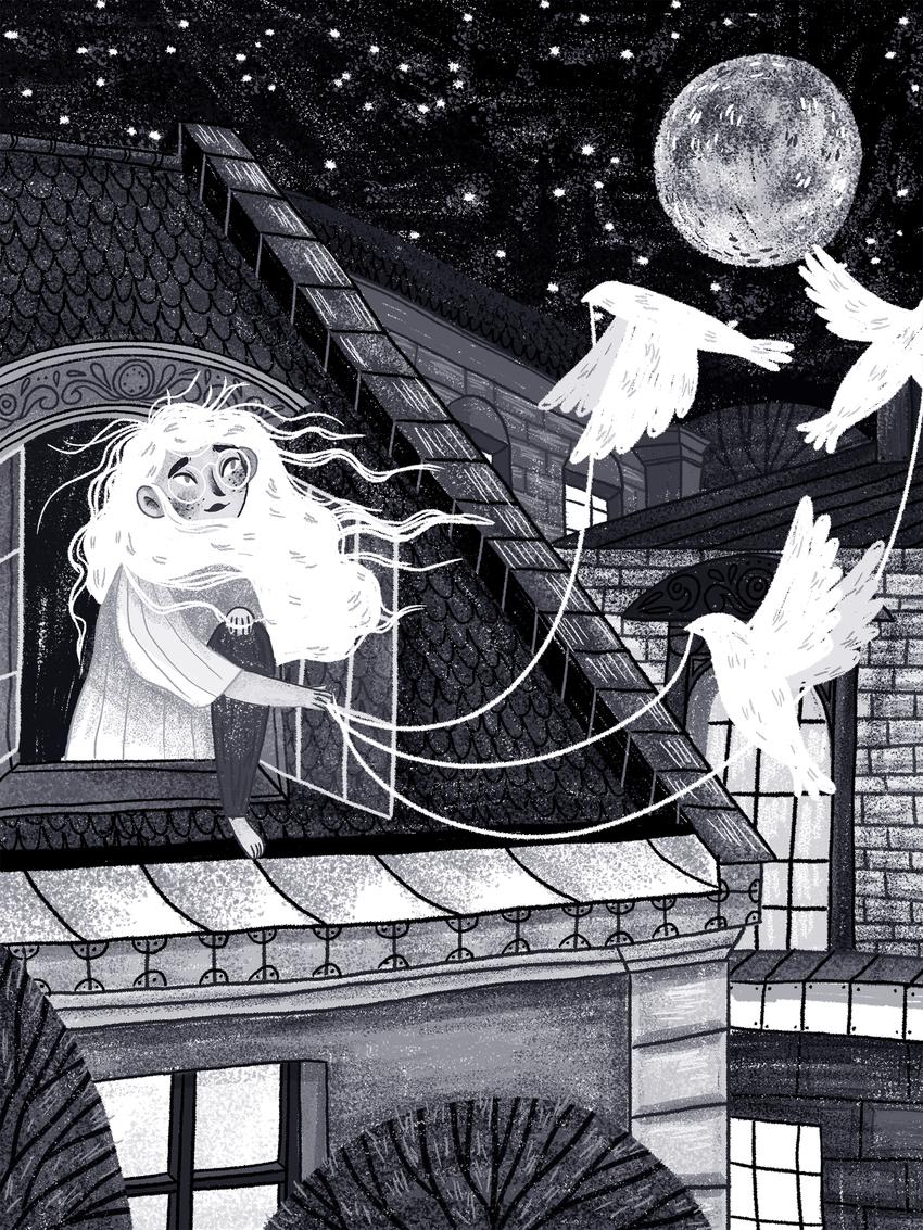 DREAMWEEK - FLYING- buildings, doves_birds_window_black and white_moon.jpg