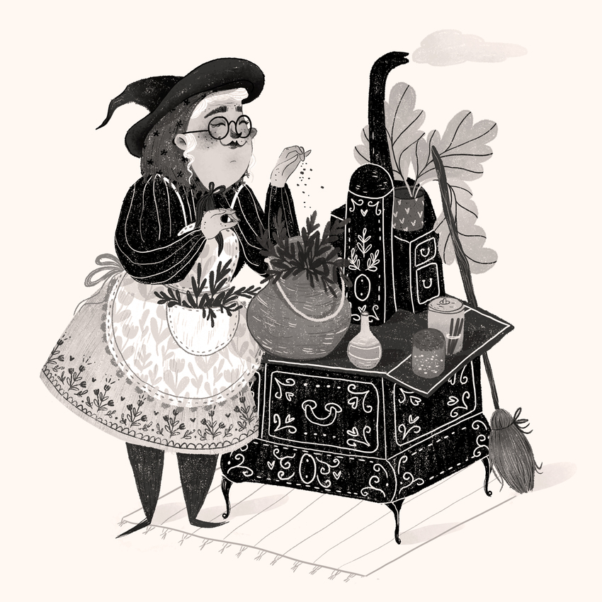 FOLKTALEWEEK - WITCH_lady_stove_cooking_wintage_grandmother_granma_spices.jpg