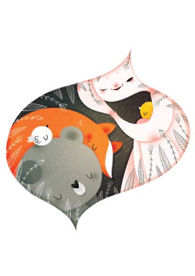 girl-bear-fox-birds-jpg