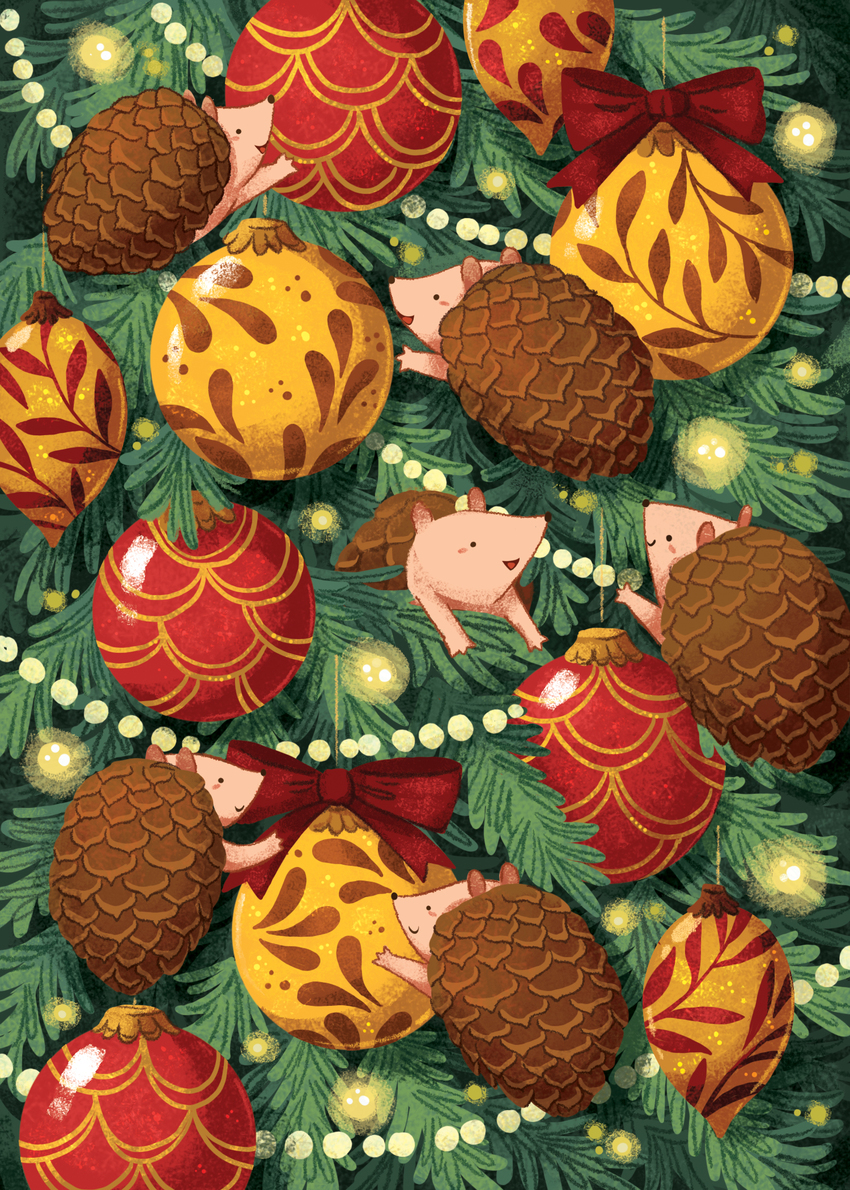 ChristmasCard_Hedgehogs_ChristmasTree_PineCones_Gold_Red_Lights_Pine_Winter.jpg