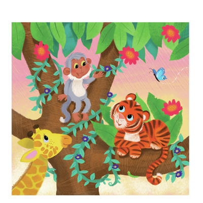 melanie-mitchell-giraffe-monkey-tiger-in-tree-jungle-jpg