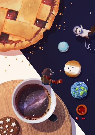 00-universe-pie-cat-astronaut-milkyway-coffee-cookies-solar-sysyem-earth-mars-mercury-stars-milk-scarf-kid-jpg