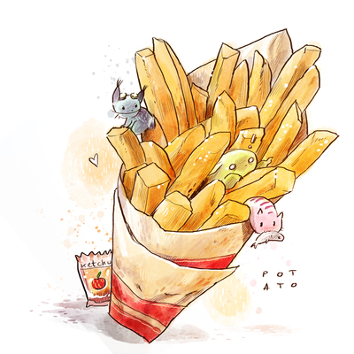01-food-cute-animals-kitties-colorful-watercolor-fries-ketchup-potatoes-jpg