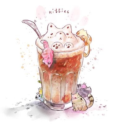 01-food-cute-animals-kitties-colorful-watercolor-icecream-milk-glass-jpg