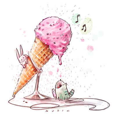 01-food-cute-animals-kitties-colorful-watercolor-strawberry-pink-icecream-cone-music-jpg