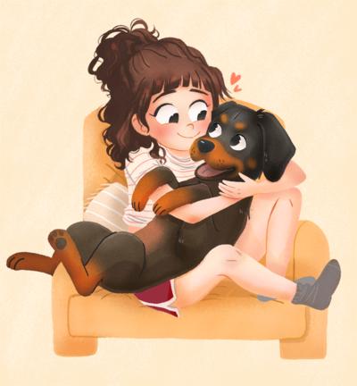 girl-and-dog-png