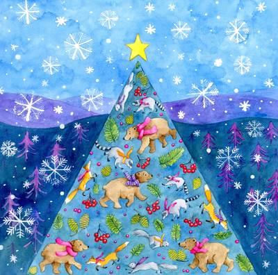 e-corke-christmas-tree-bears-racoons-foxes-snowy-jpg